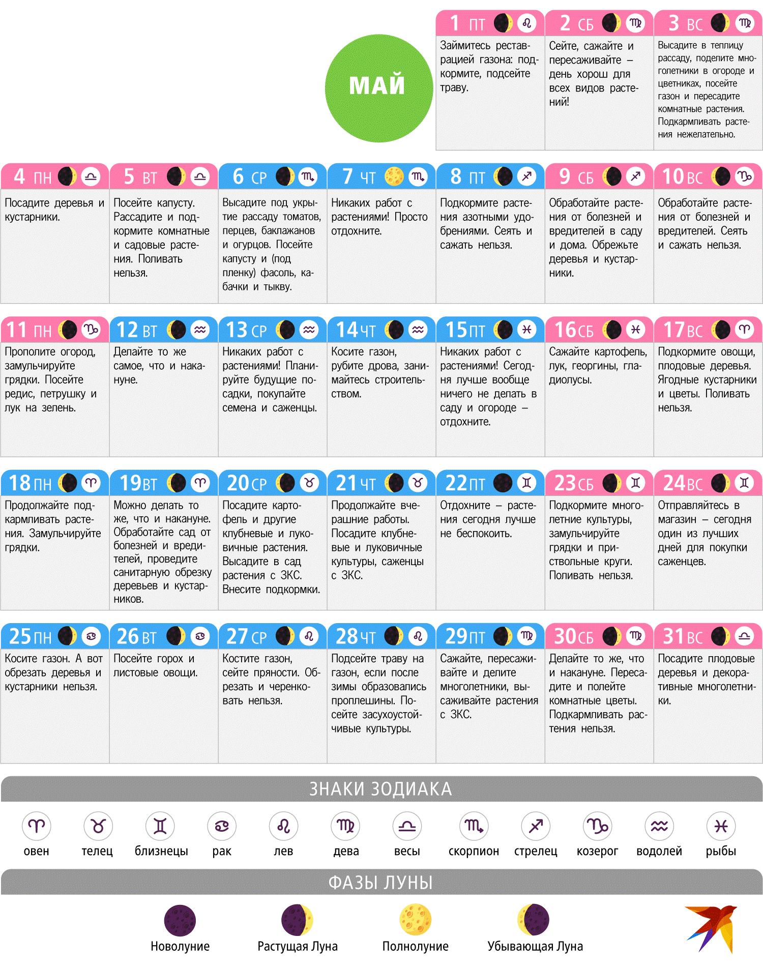 Календарь май